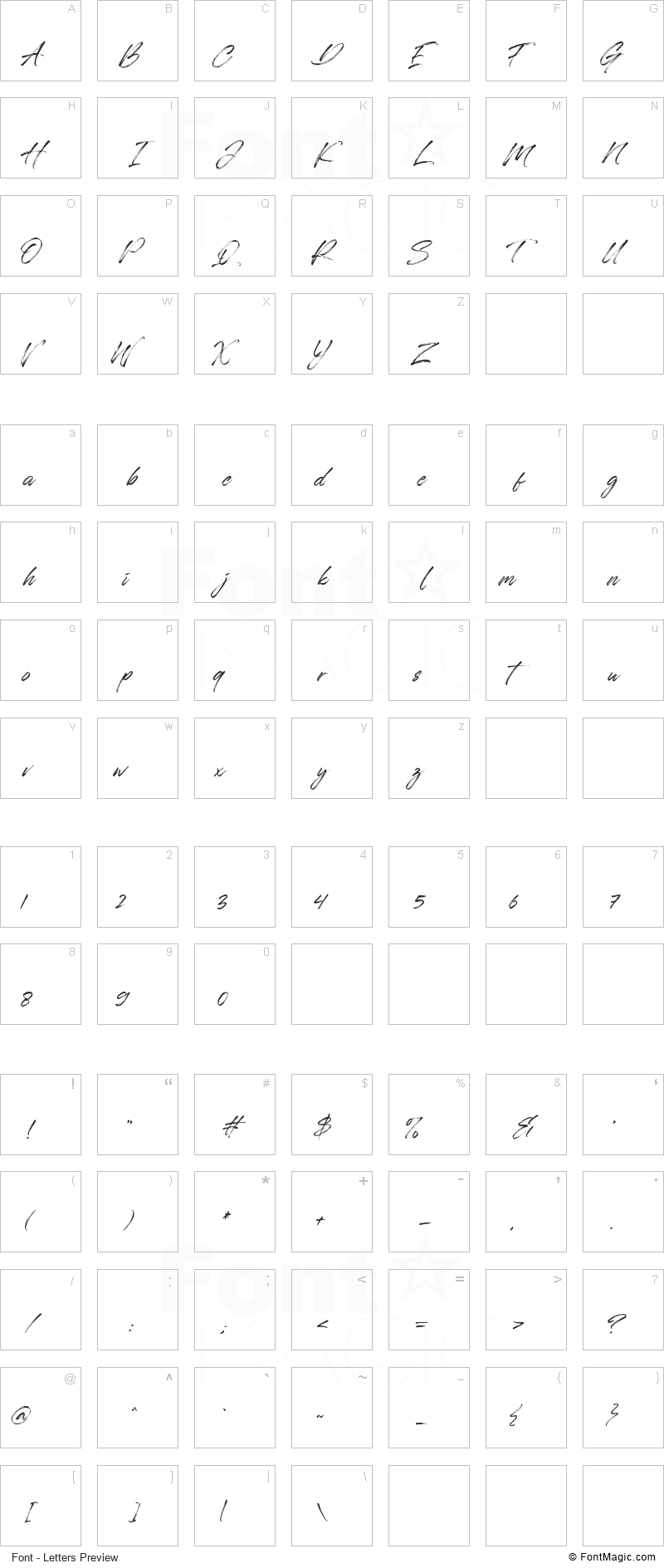 Automobile Contest Font - All Latters Preview Chart