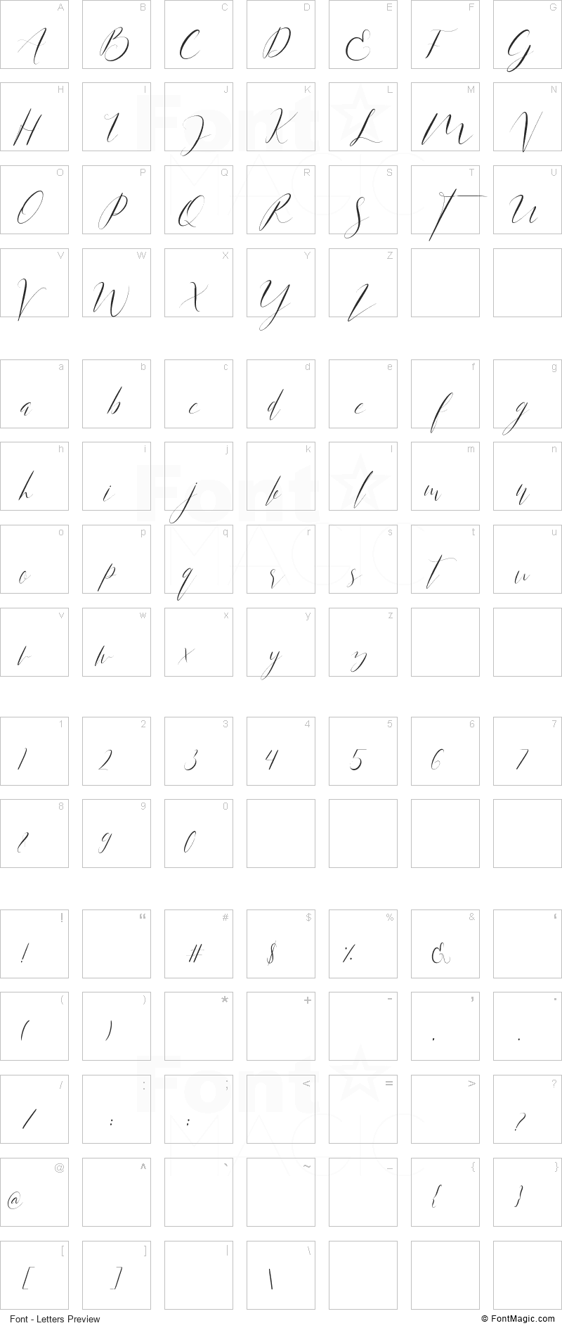 Anita Jane Font - All Latters Preview Chart