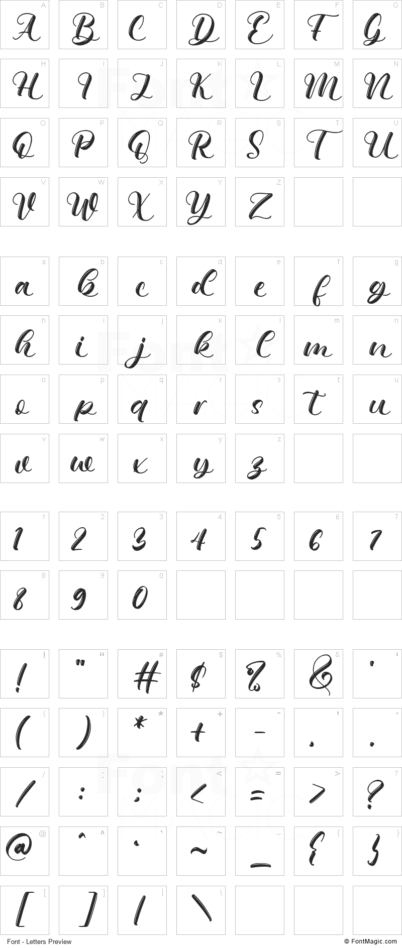 Qimberly Font - All Latters Preview Chart