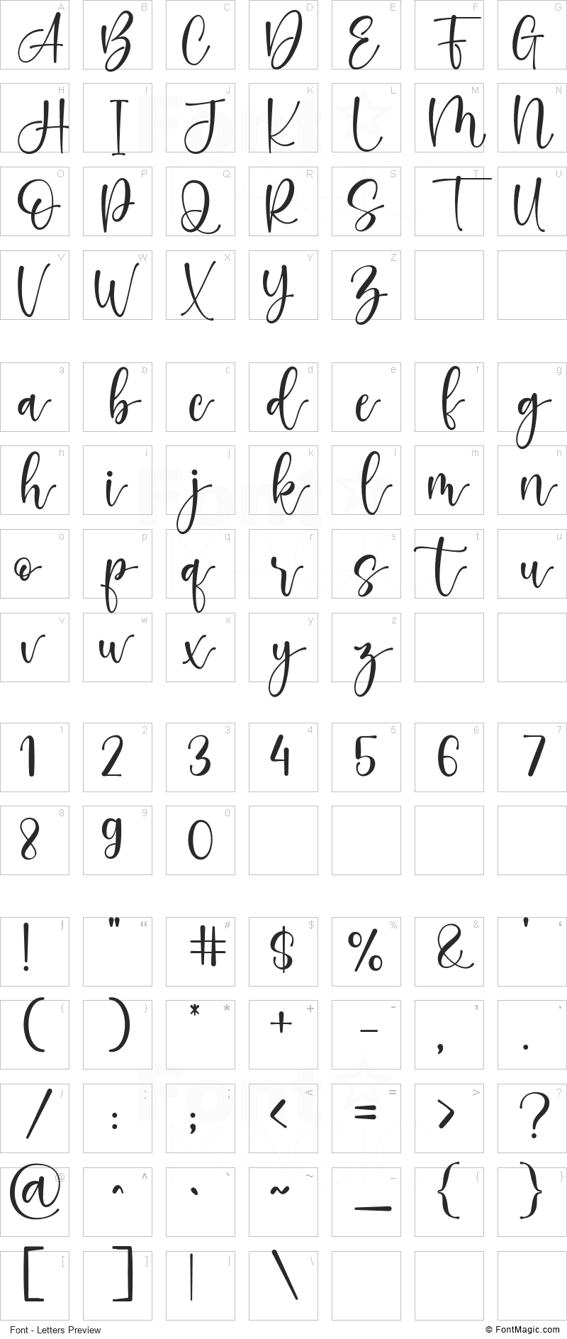 The Glowing Black Queen Font - All Latters Preview Chart