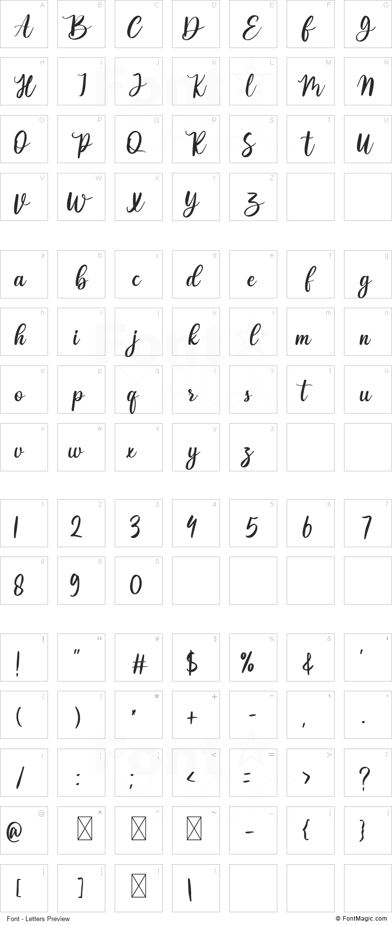 Valentime Font - All Latters Preview Chart