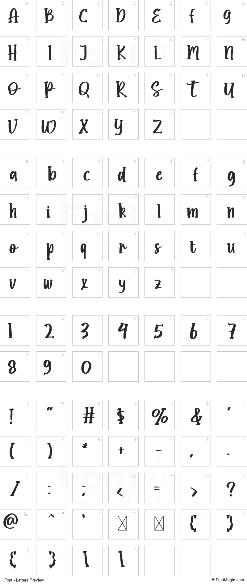 Ghostly Font - All Latters Preview Chart