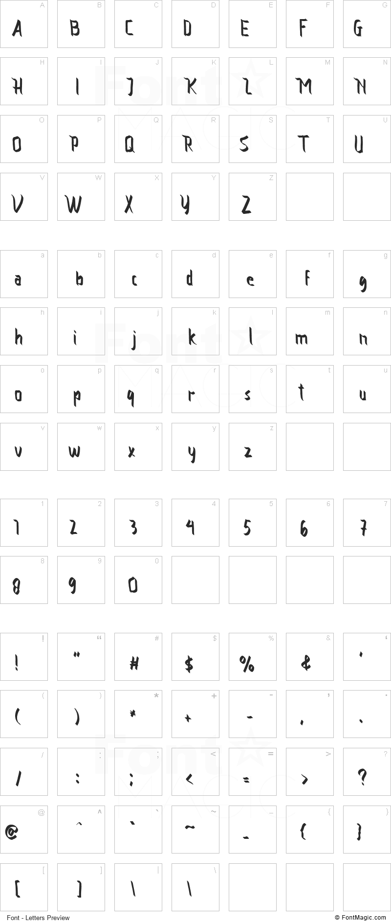 Vamfired Font - All Latters Preview Chart