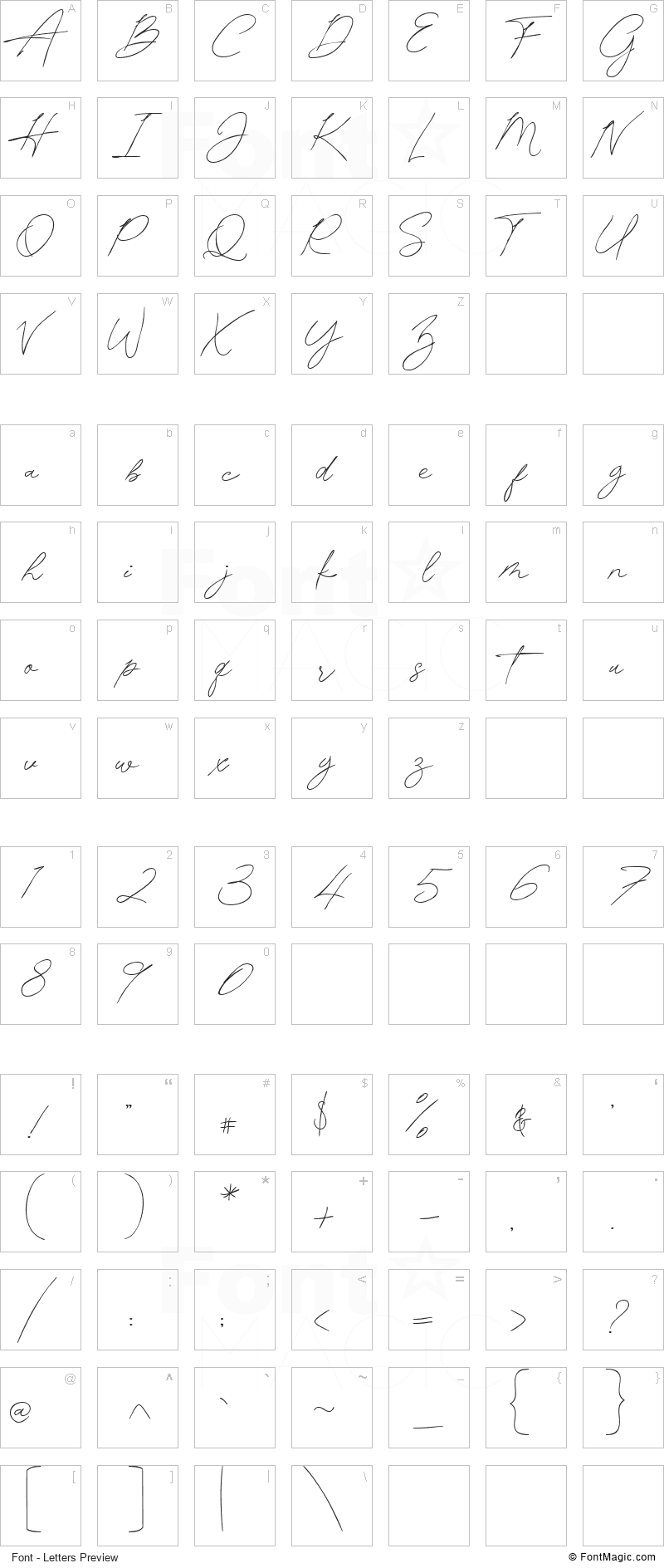 Pamsetto Font - All Latters Preview Chart