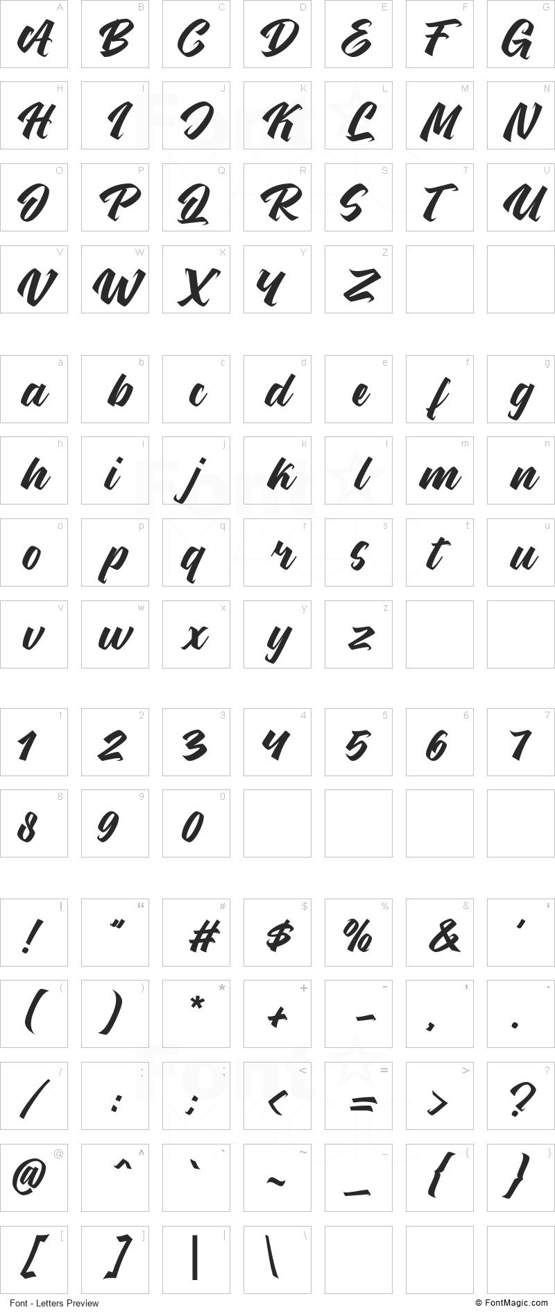 Kenthir Font - All Latters Preview Chart