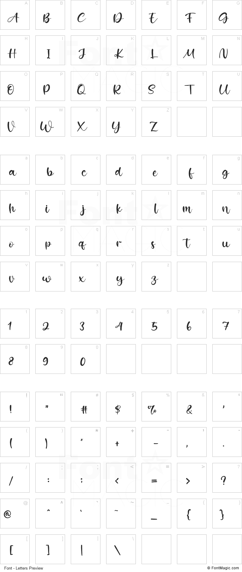 Kiss Boom Font - All Latters Preview Chart