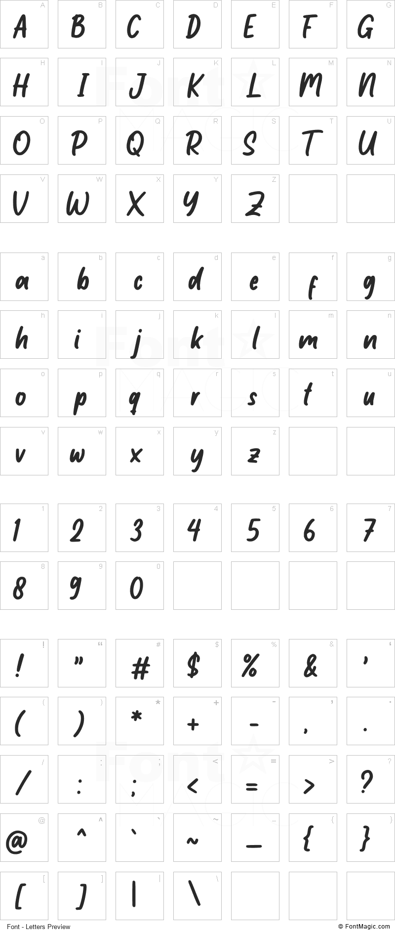 Little Student Font - All Latters Preview Chart