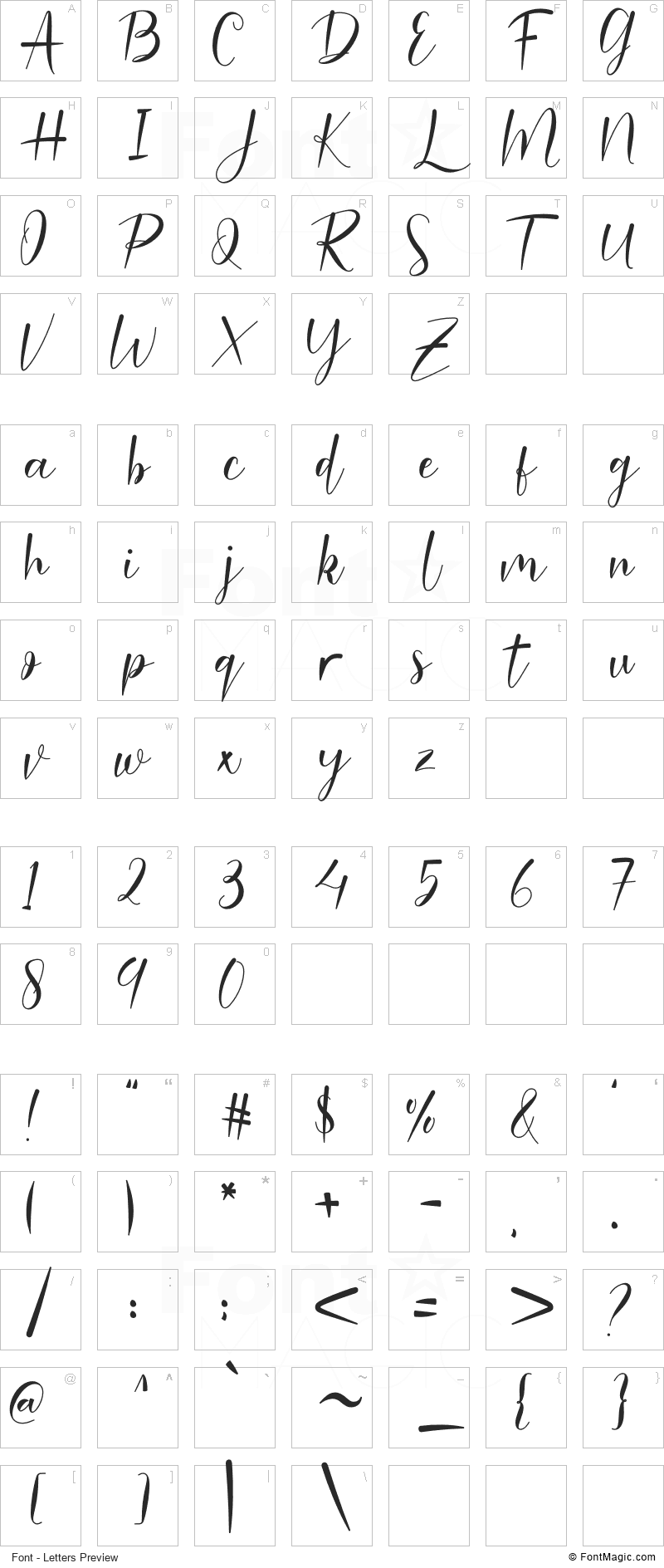 Malinda Font - All Latters Preview Chart