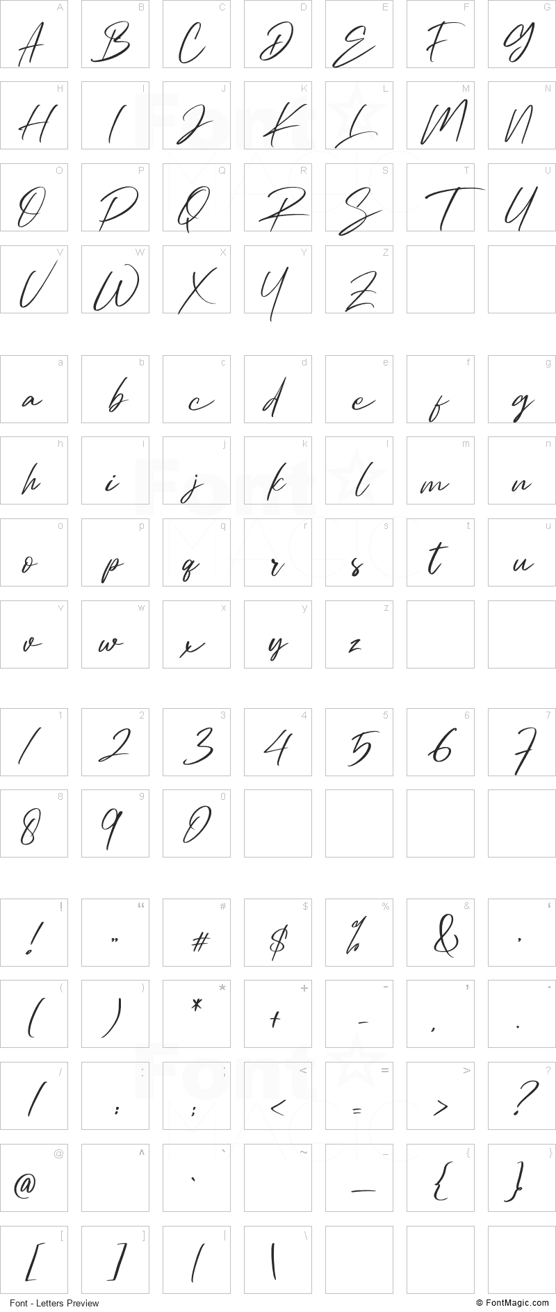 Ambitive Font - All Latters Preview Chart