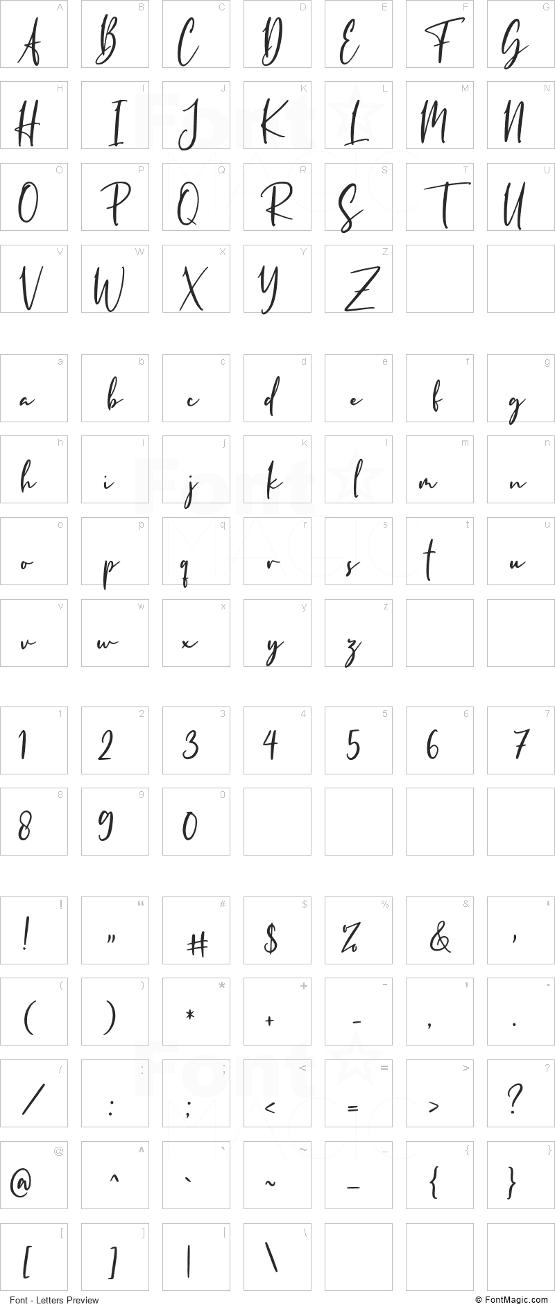 Harstmount Font - All Latters Preview Chart