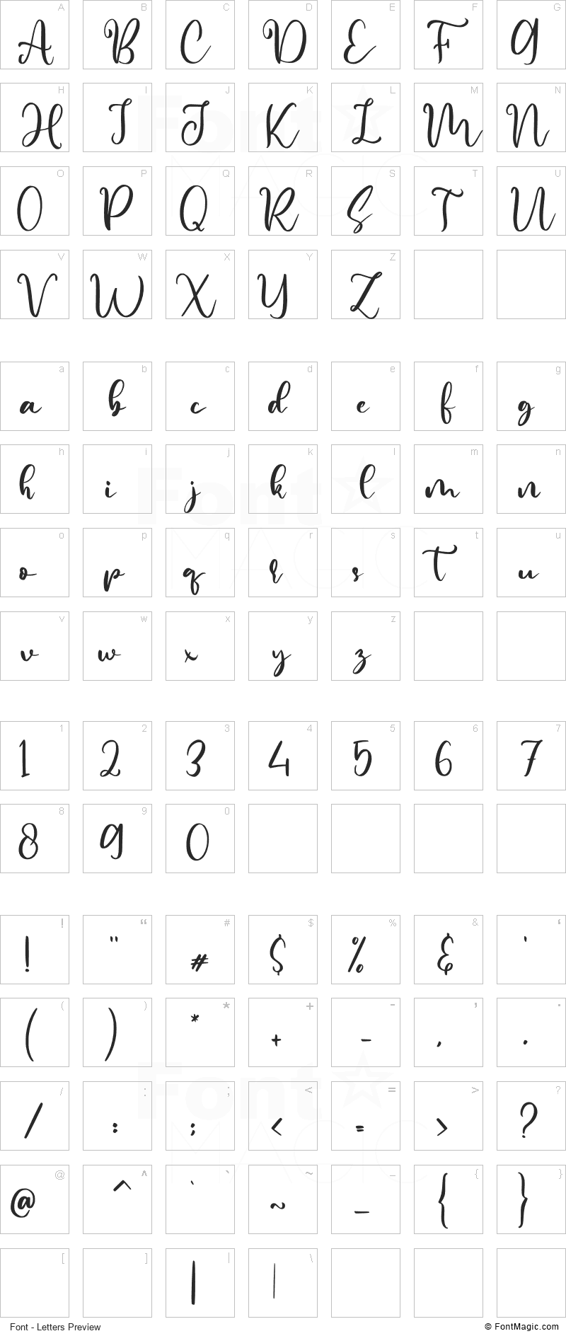 Rephina Font - All Latters Preview Chart
