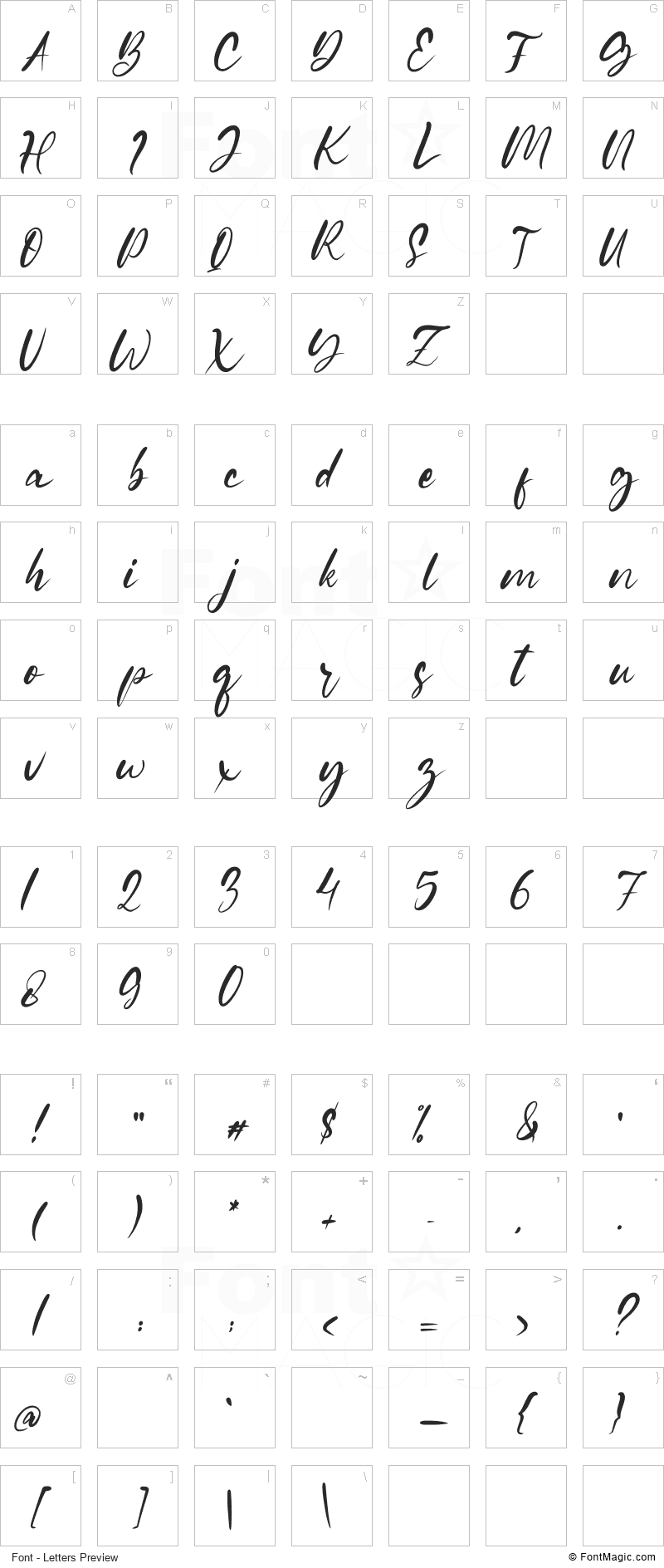 Gianella Font - All Latters Preview Chart