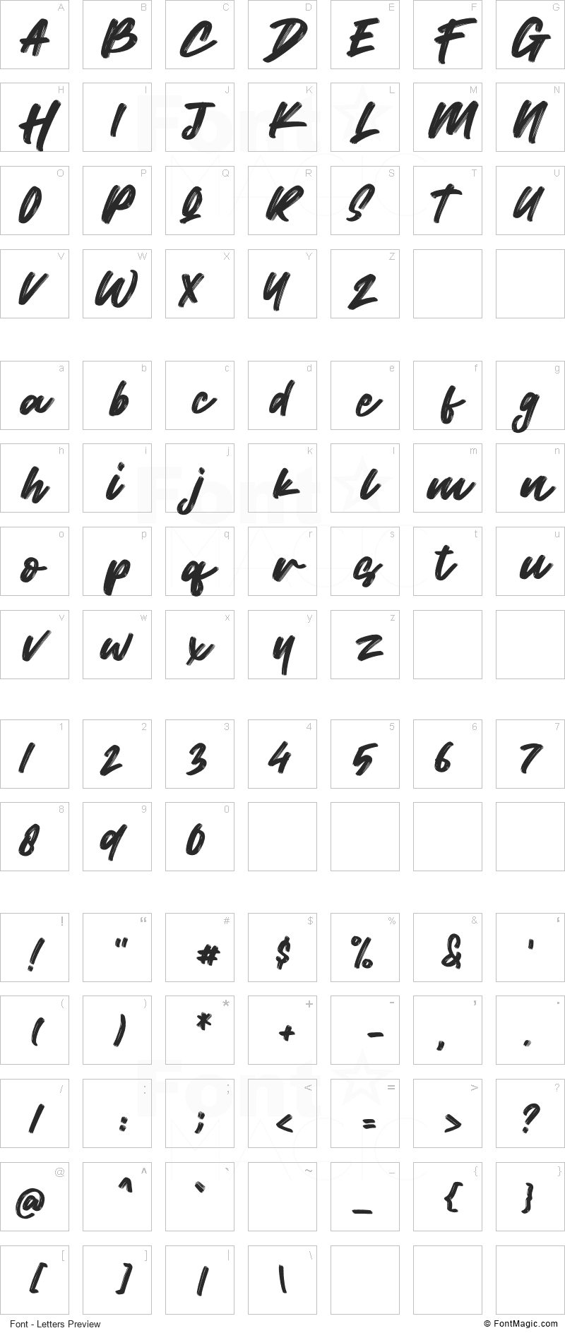 Wild Youth Font - All Latters Preview Chart