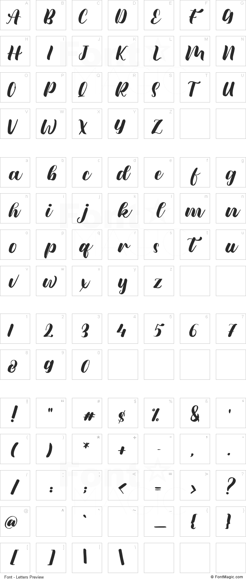 Meylani Font - All Latters Preview Chart