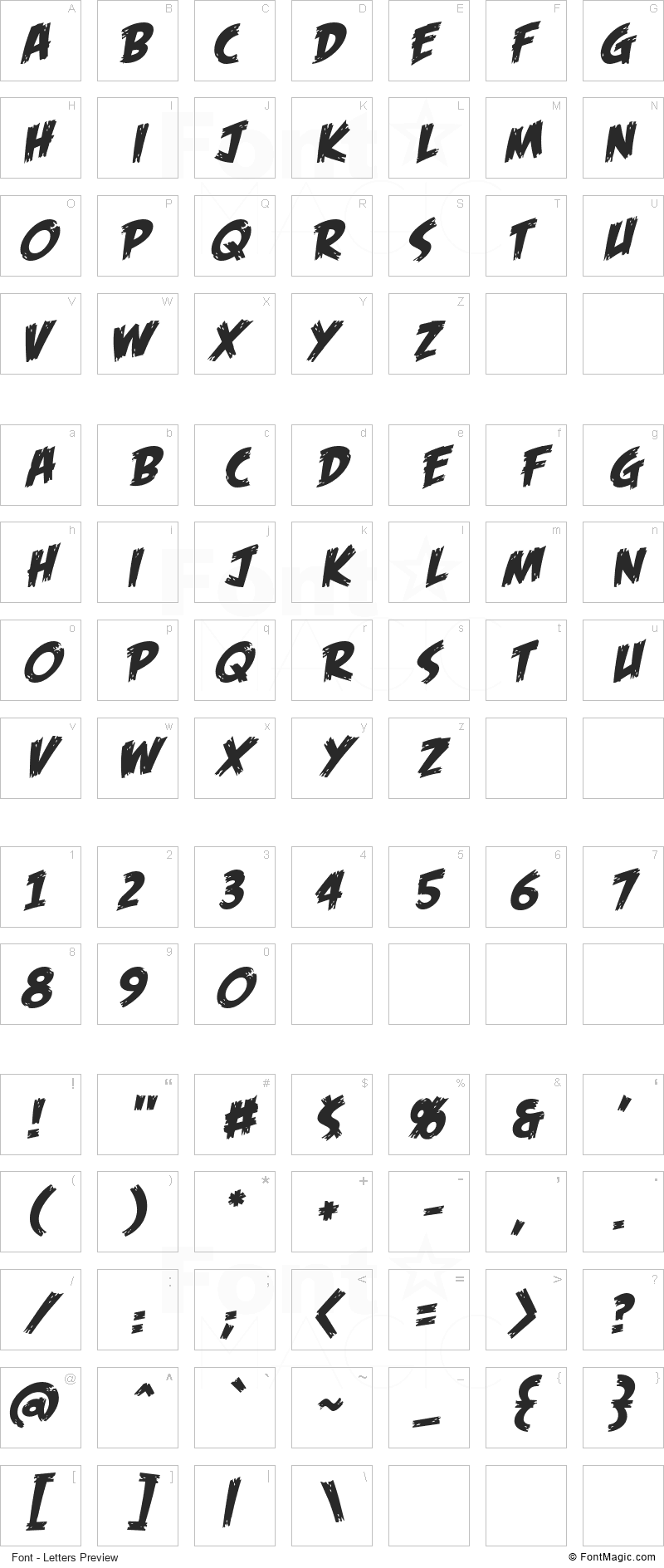 Feast of Flesh BB Font - All Latters Preview Chart