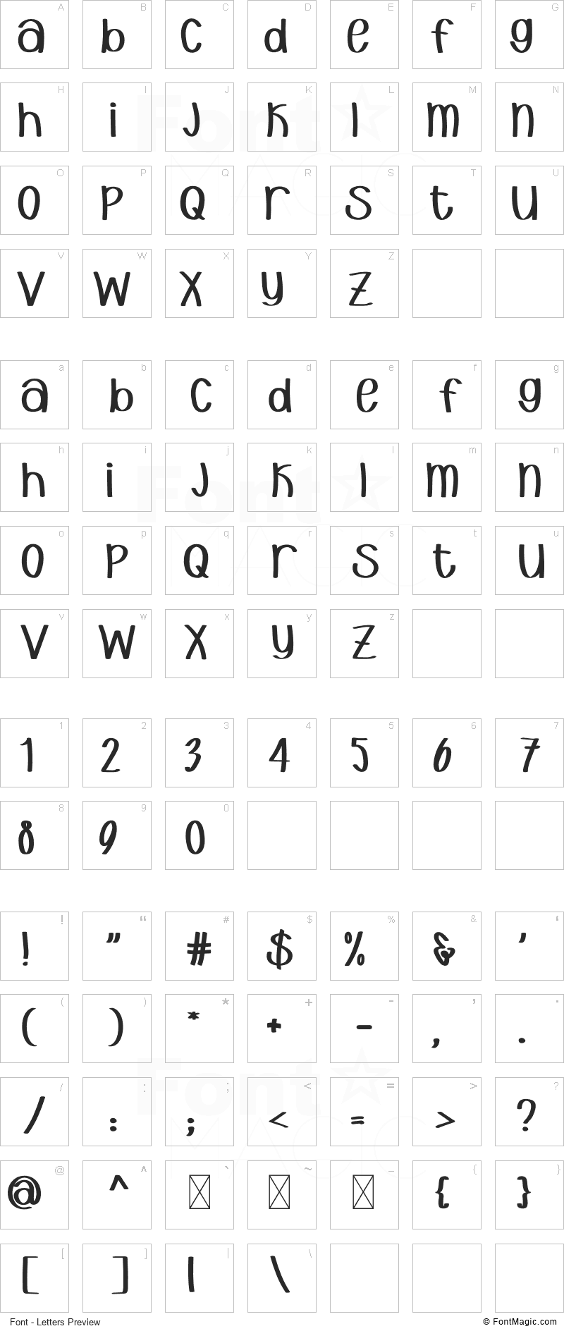 Endeavour Font - All Latters Preview Chart