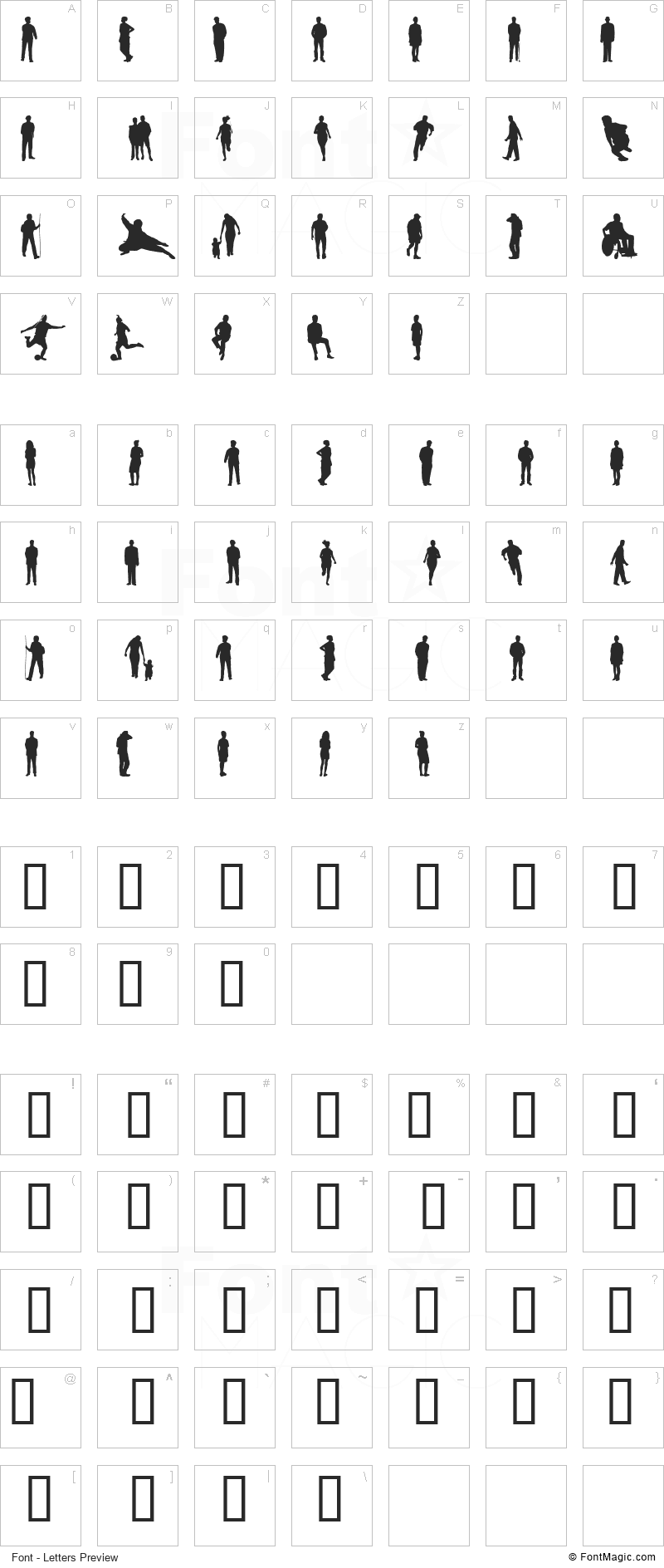 Ihminen Font - All Latters Preview Chart