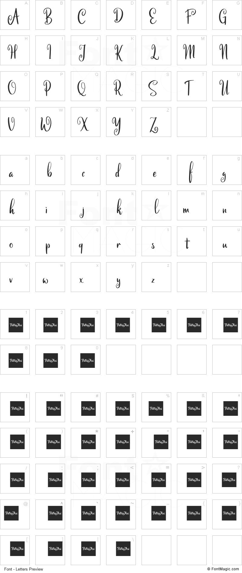 Calinastiya Font - All Latters Preview Chart