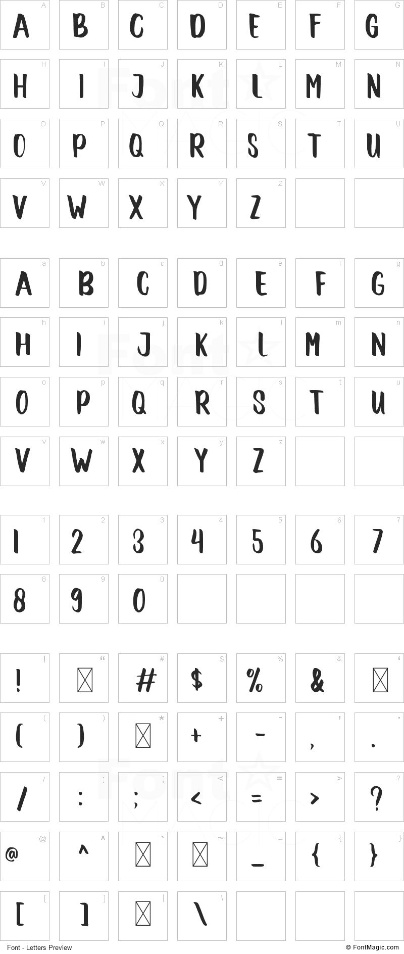 Winter Font - All Latters Preview Chart
