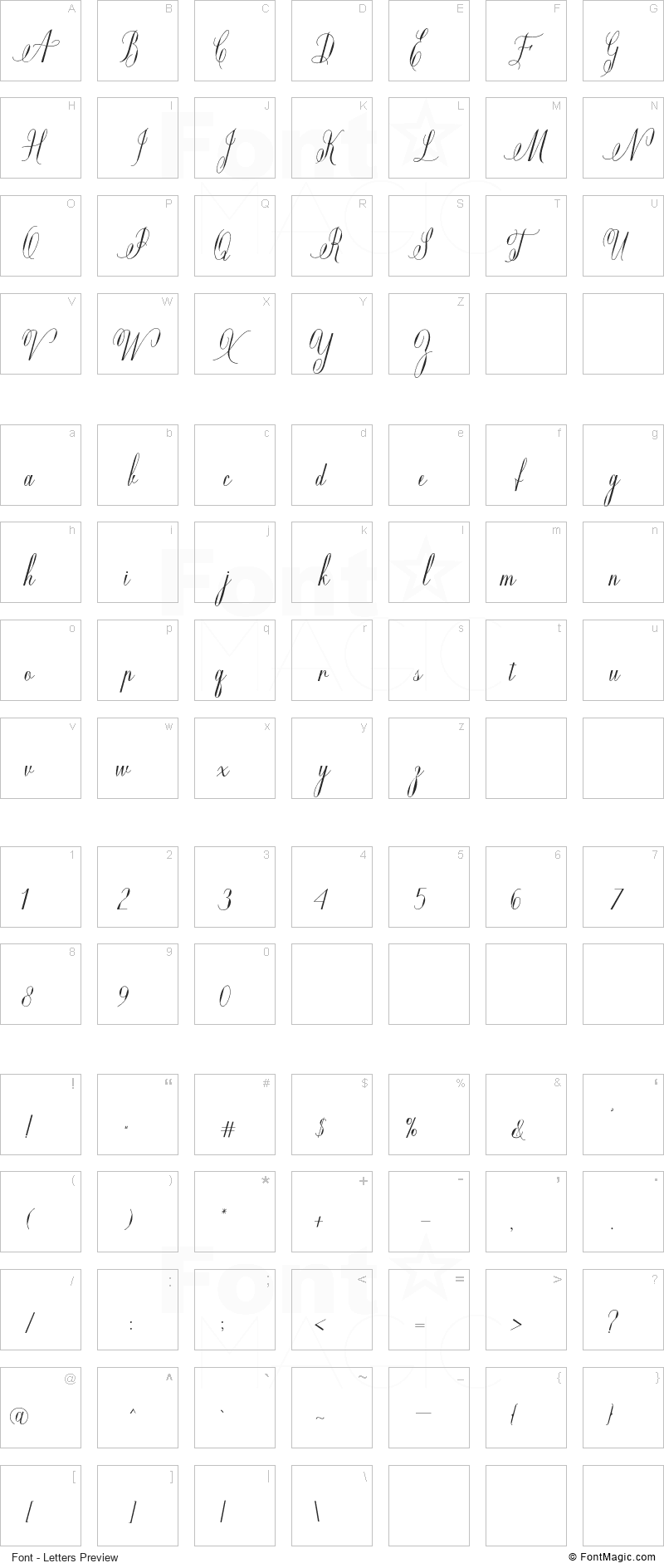 Mildistance Font - All Latters Preview Chart