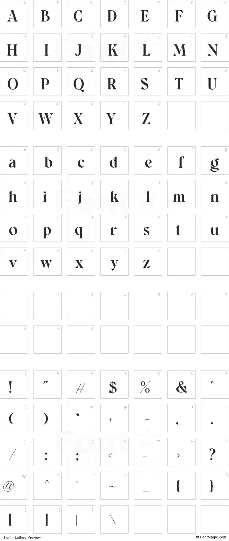 Quatro Font - All Latters Preview Chart