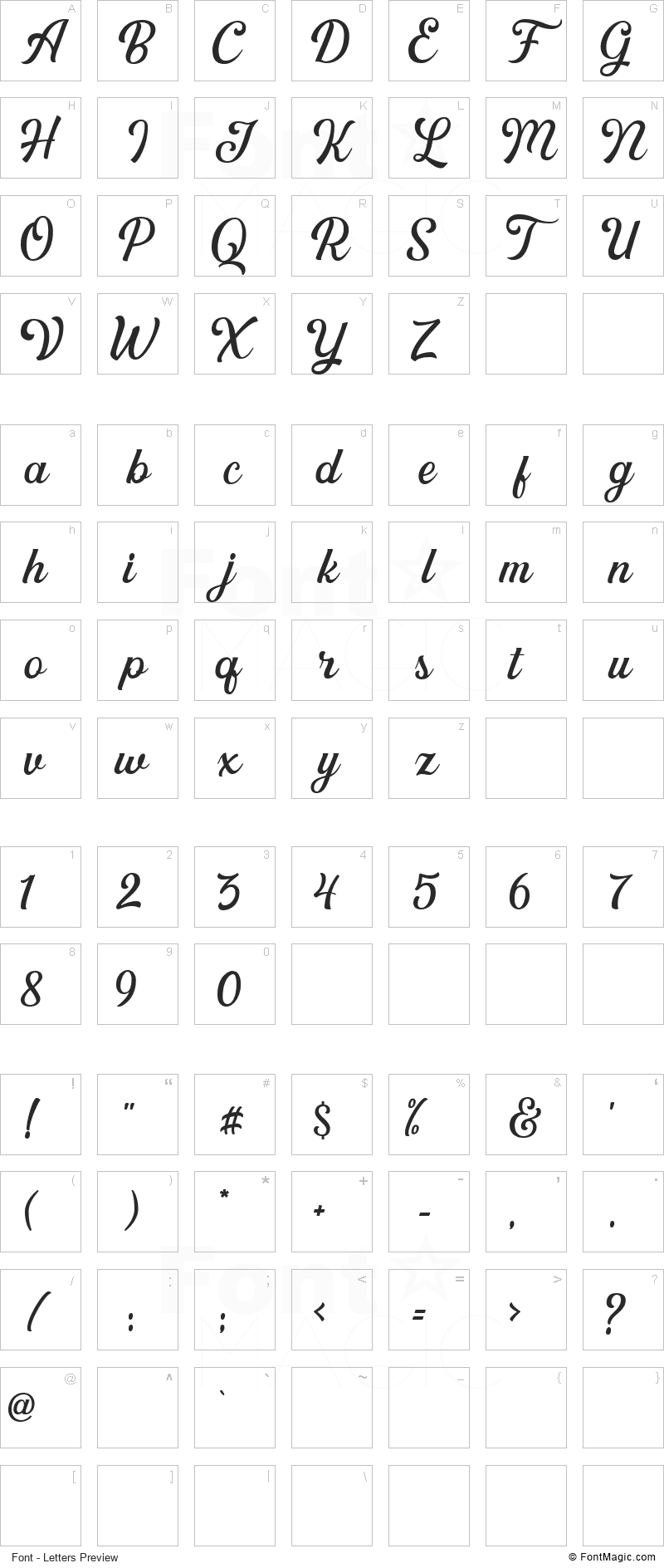 Greatly Font - All Latters Preview Chart