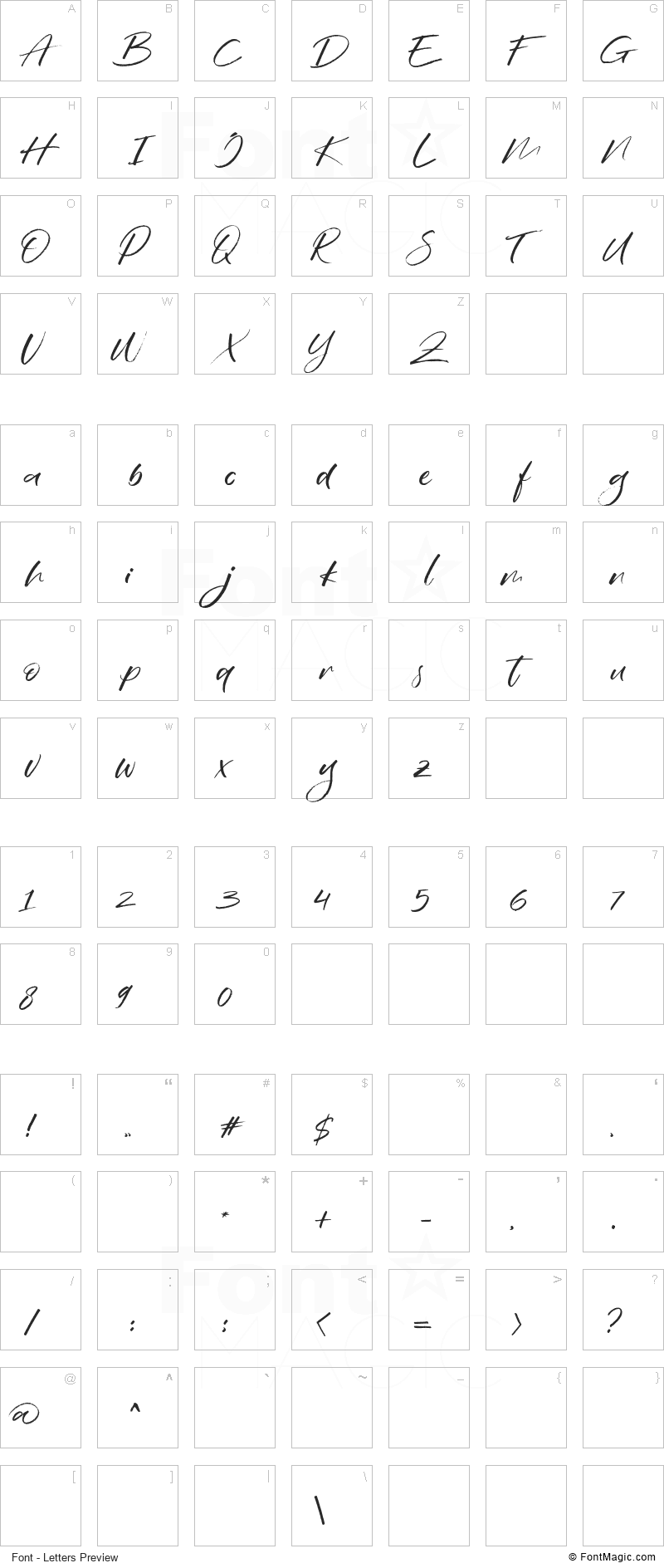 Wildbreak Font - All Latters Preview Chart