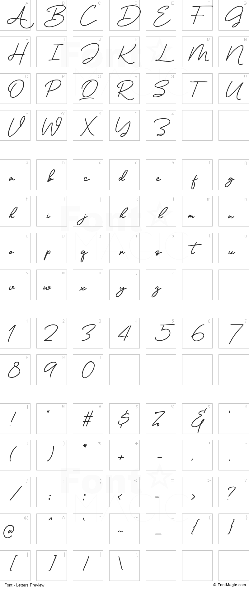 Ronallatie Font - All Latters Preview Chart
