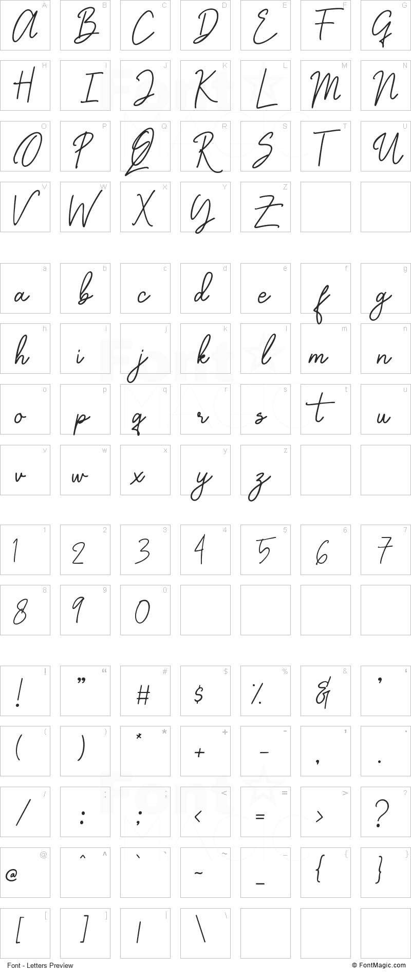 Graciast Font - All Latters Preview Chart