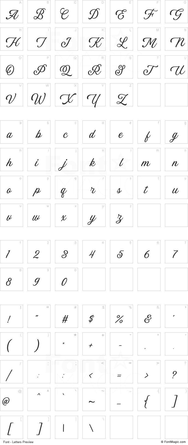 Linkgray Font - All Latters Preview Chart