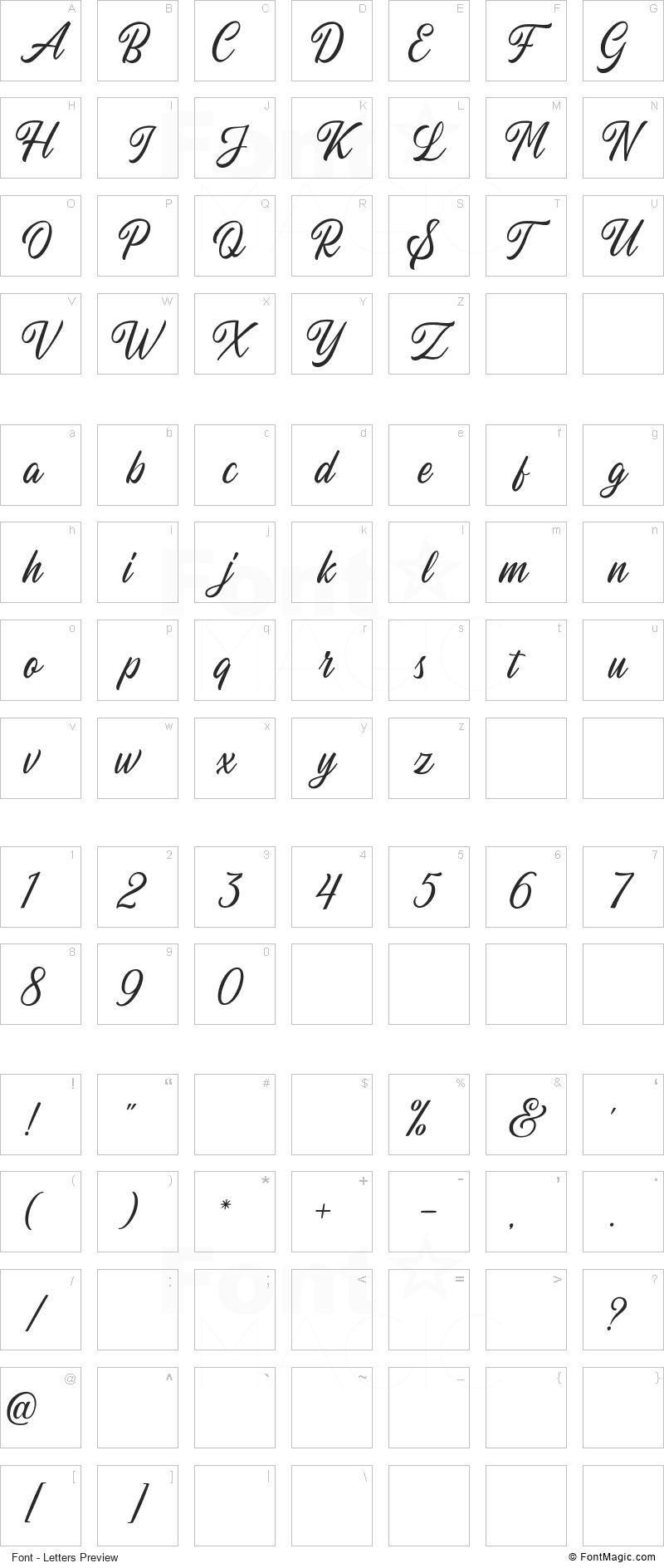 Autogate Font - All Latters Preview Chart