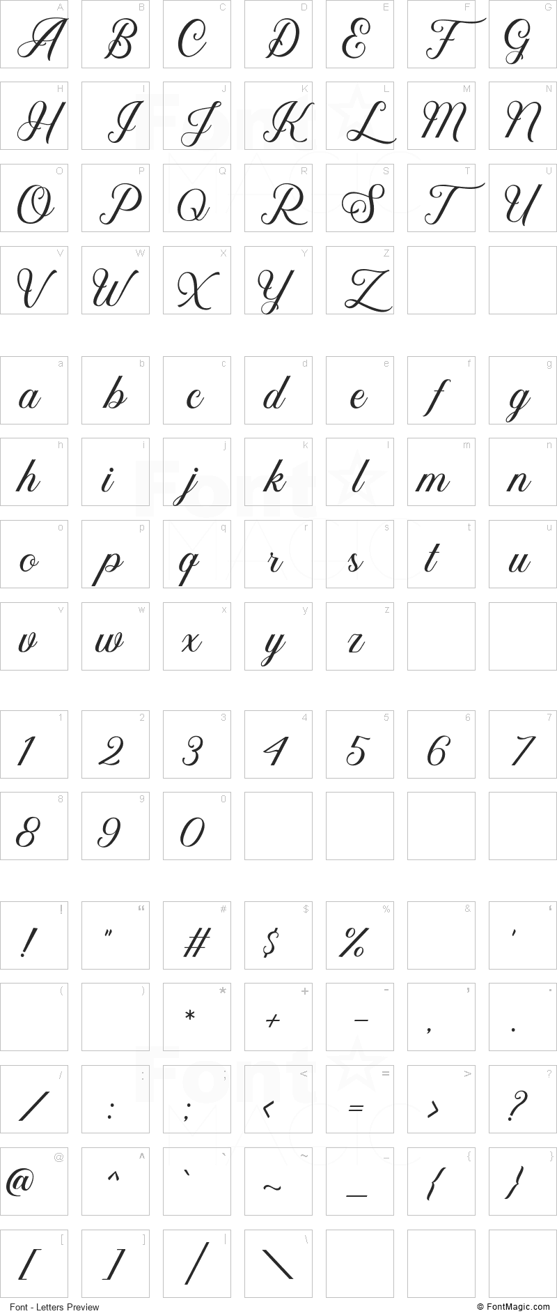 Kaylar Font - All Latters Preview Chart