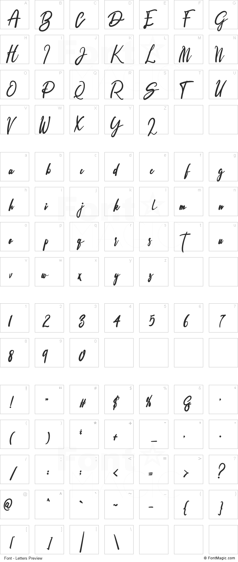 Signature Font - All Latters Preview Chart