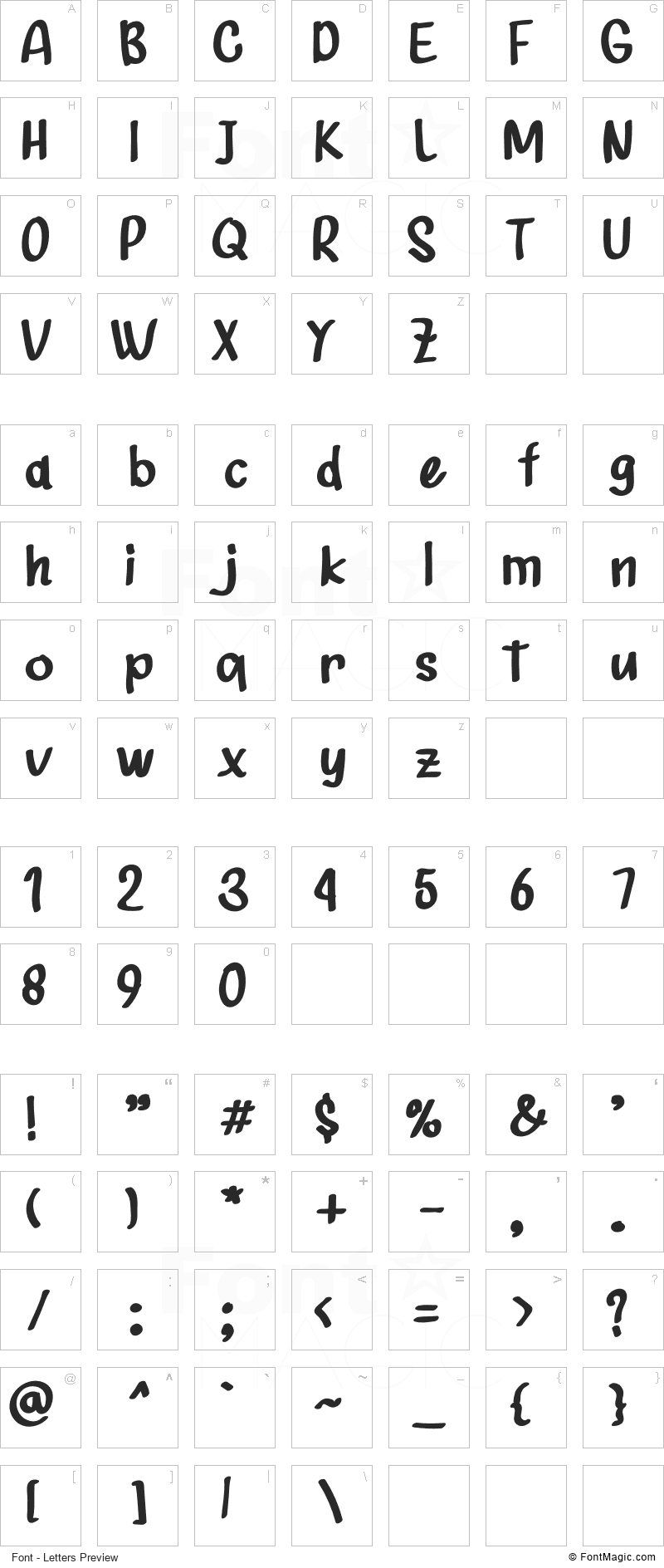 Shunshise Font - All Latters Preview Chart