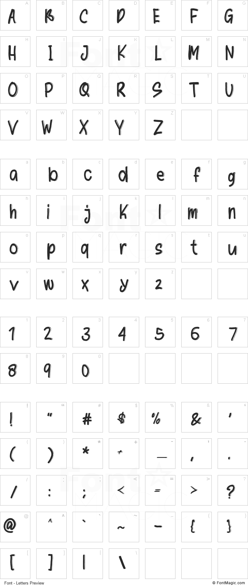 Writter Font - All Latters Preview Chart