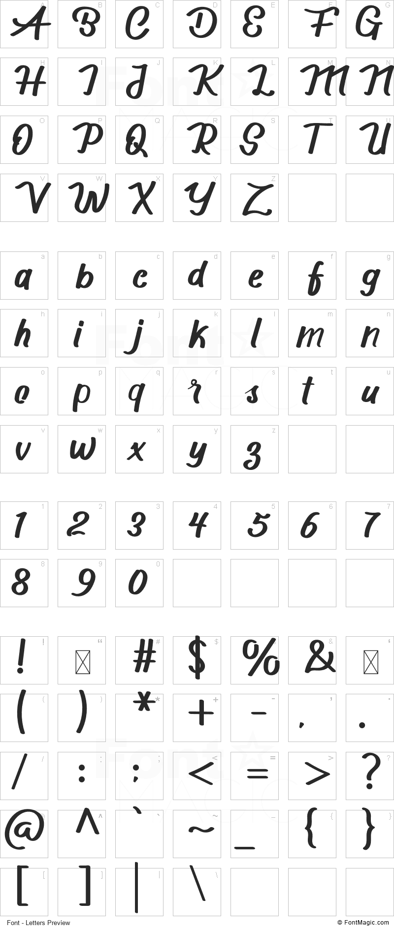 Scotters Font - All Latters Preview Chart
