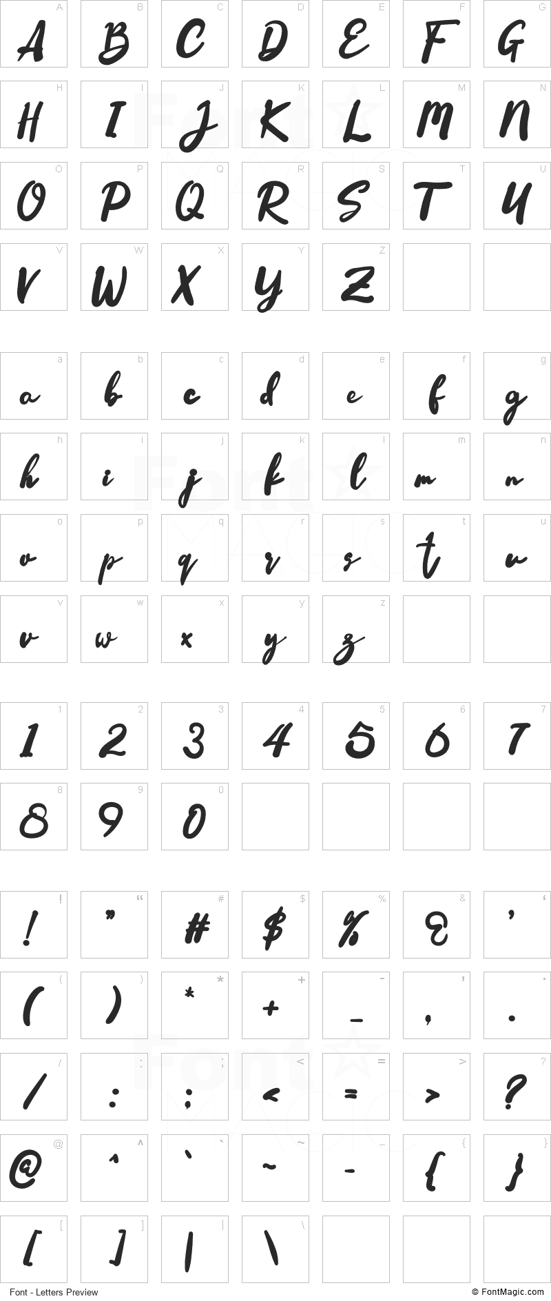 Happiness Font - All Latters Preview Chart