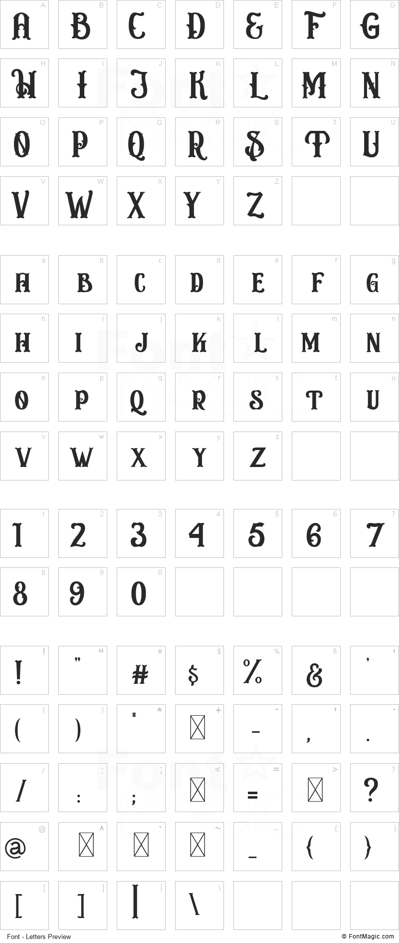 Circusia Font - All Latters Preview Chart