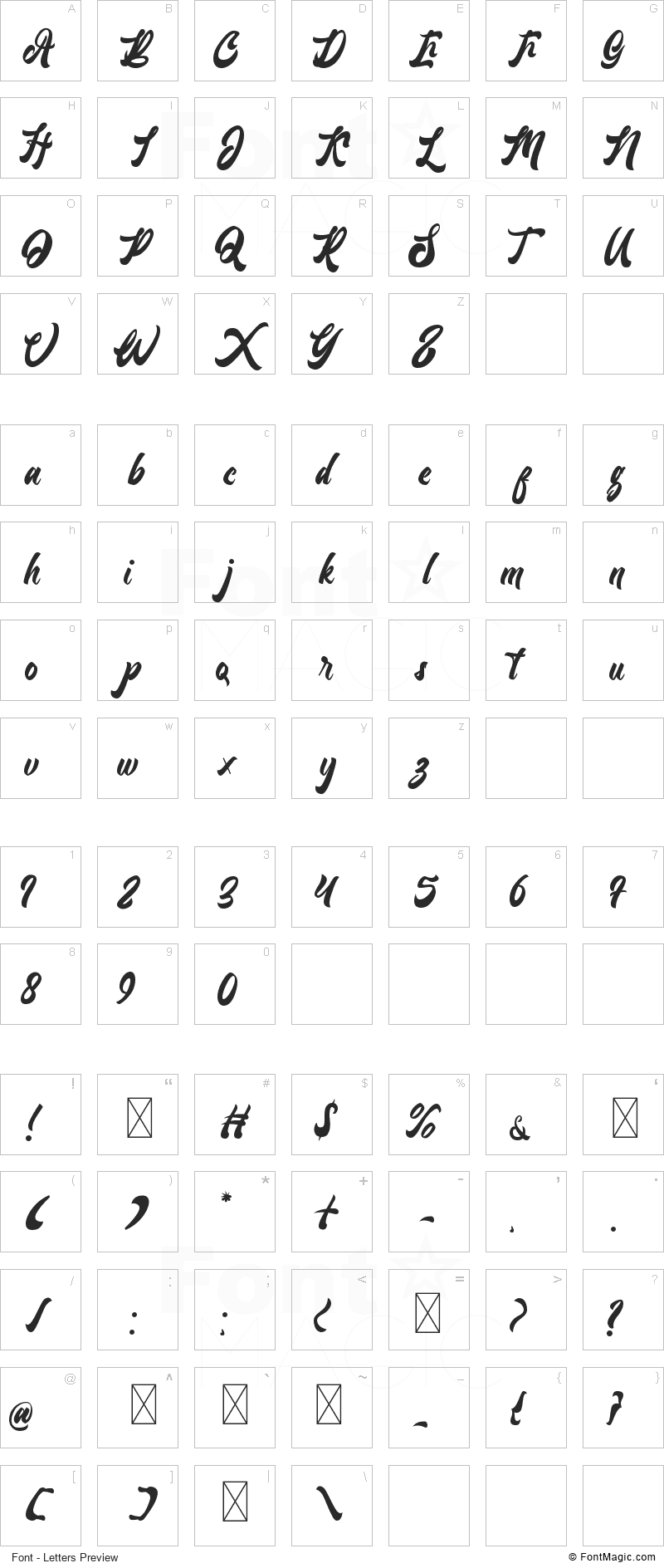 Lantenia Font - All Latters Preview Chart