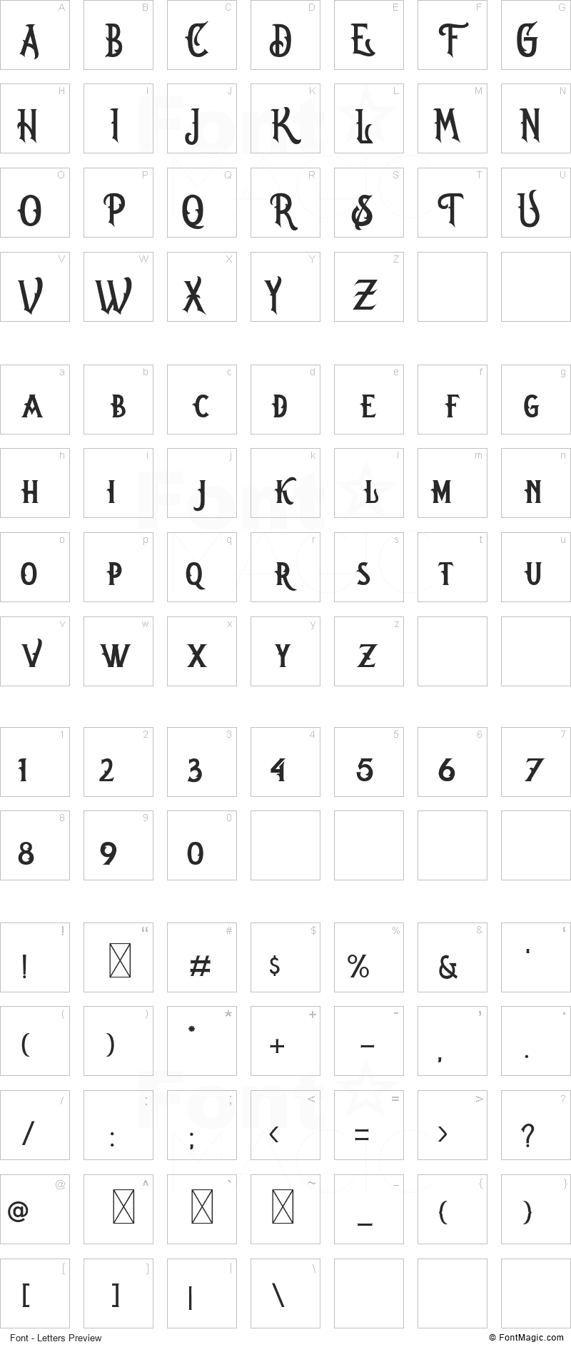 Oregon Font - All Latters Preview Chart