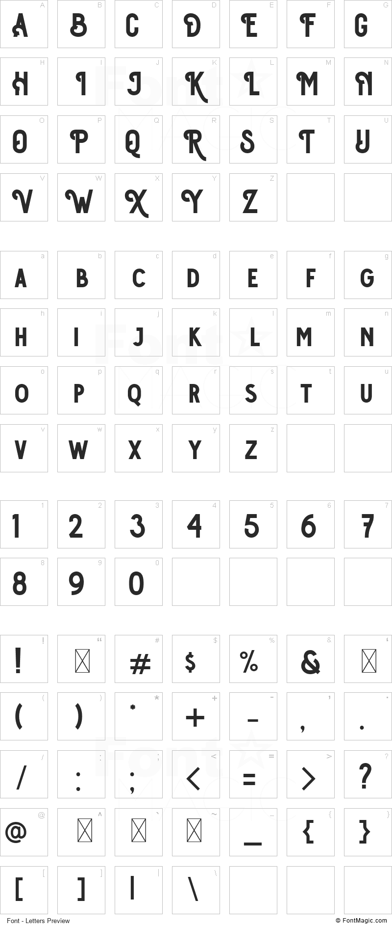 Osgiliath Font - All Latters Preview Chart