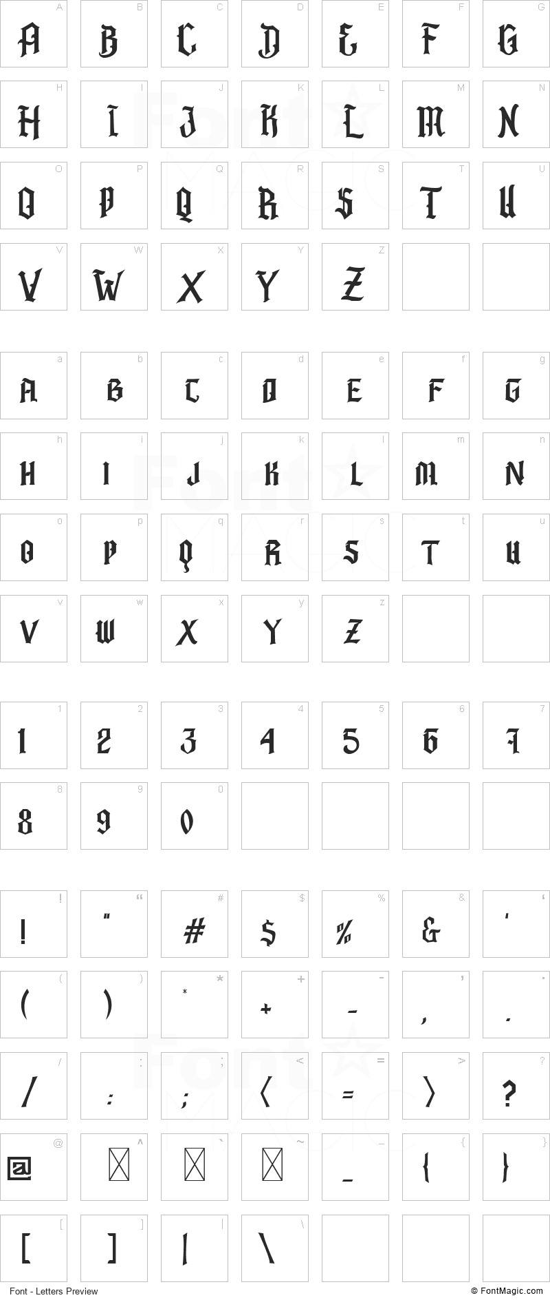 Barbatos Font - All Latters Preview Chart