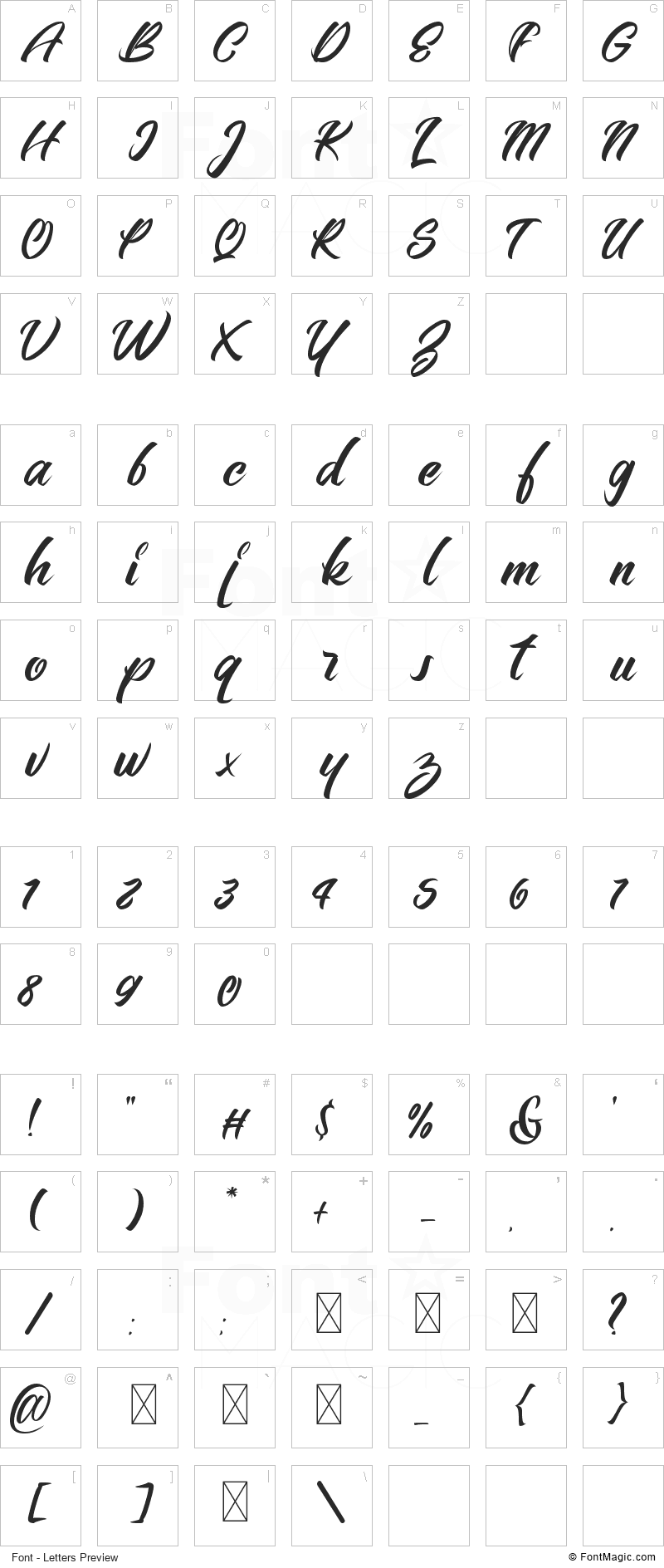 Bellerin Font - All Latters Preview Chart