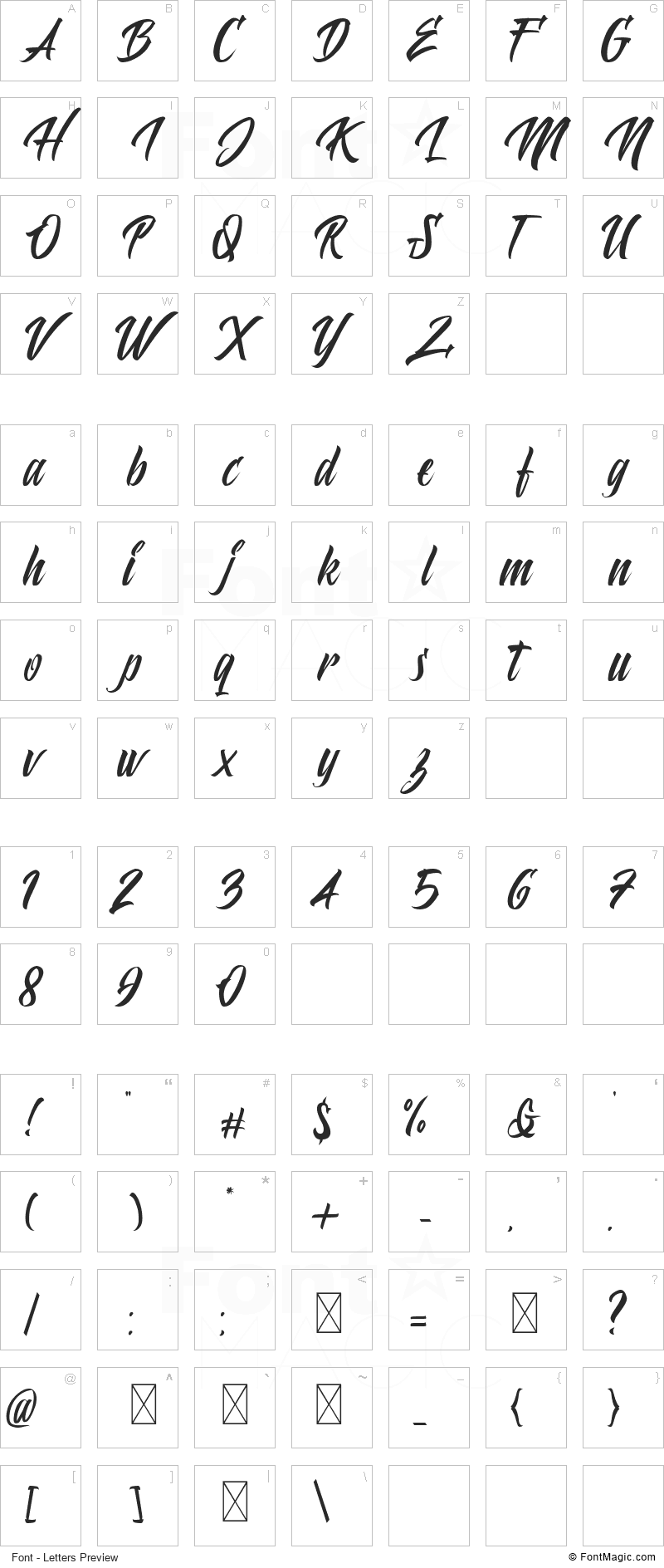 Polaria Font - All Latters Preview Chart