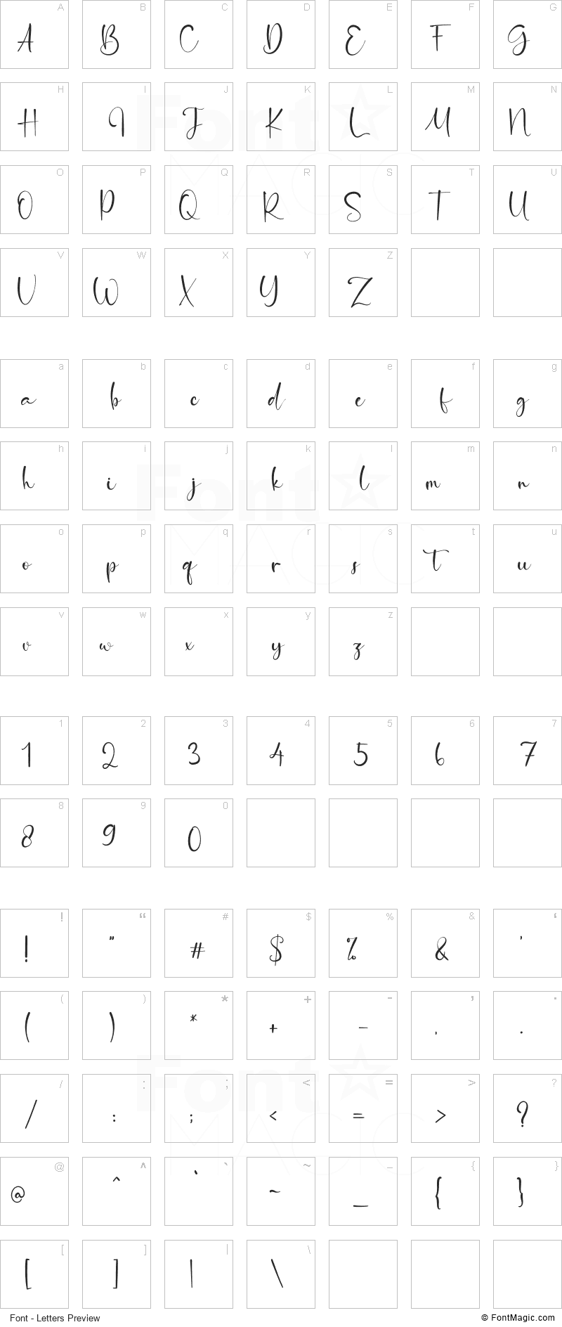 Orange Signature Font - All Latters Preview Chart