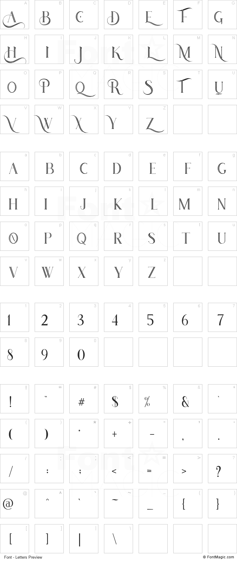 Houston Font - All Latters Preview Chart