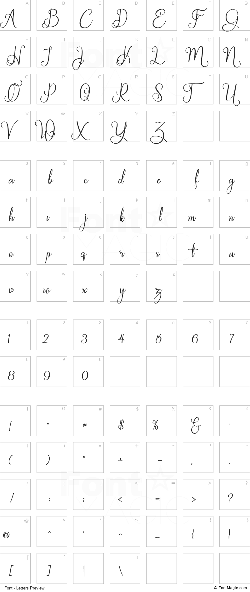 Galinah Font - All Latters Preview Chart