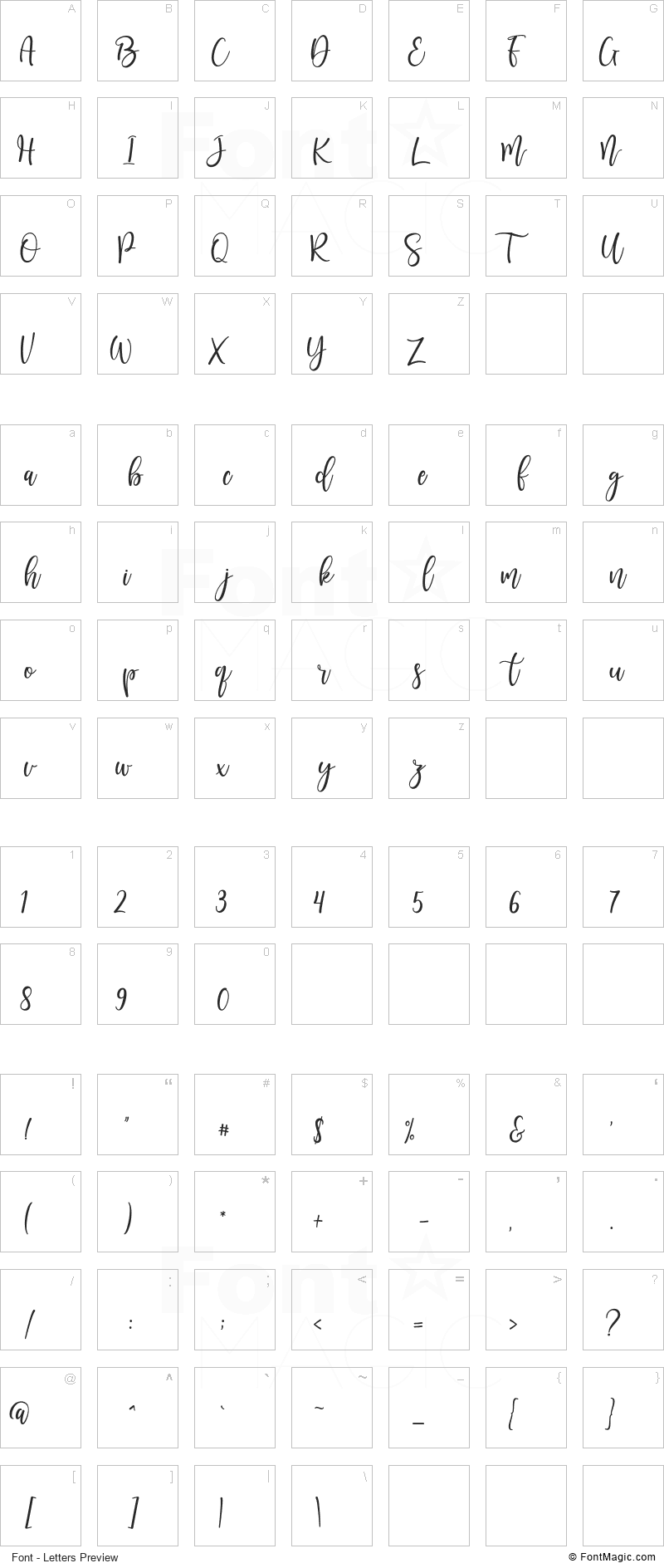 Sunkisa Font - All Latters Preview Chart