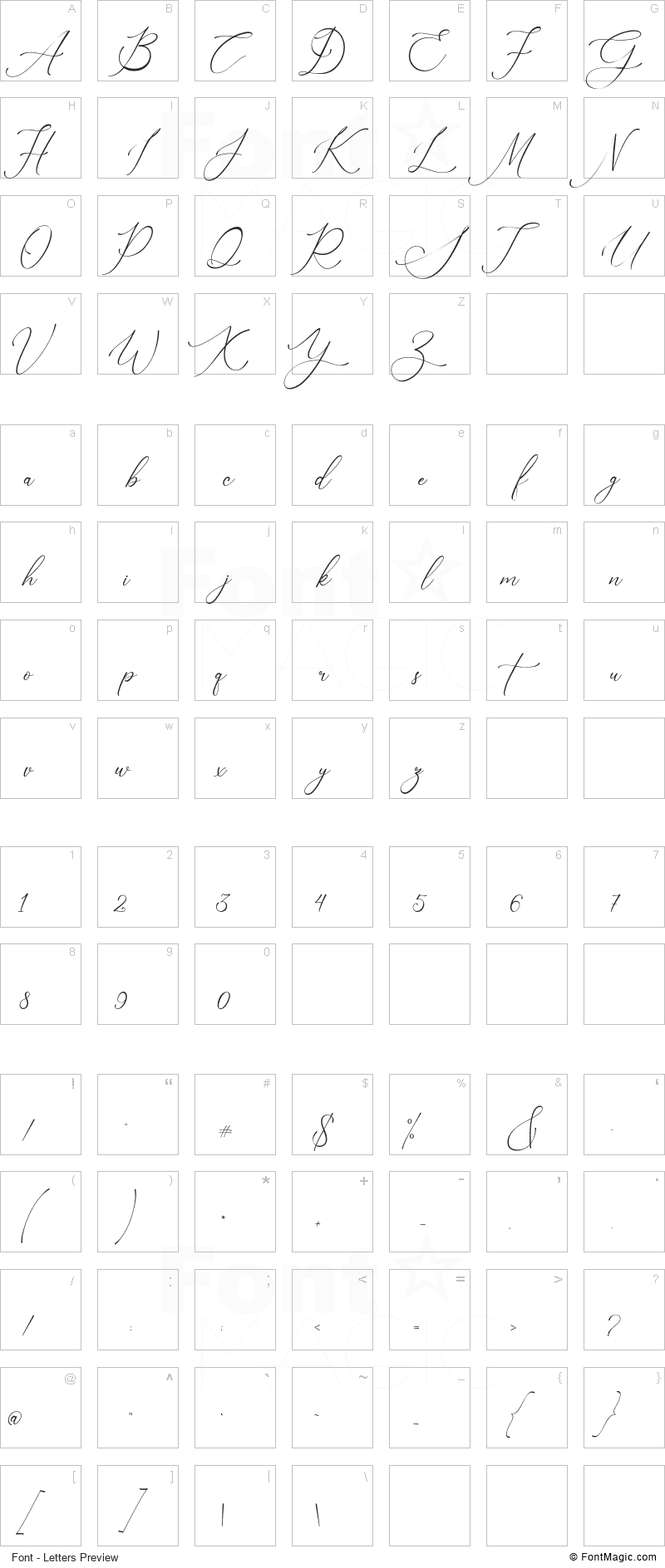 Nagisha Font - All Latters Preview Chart
