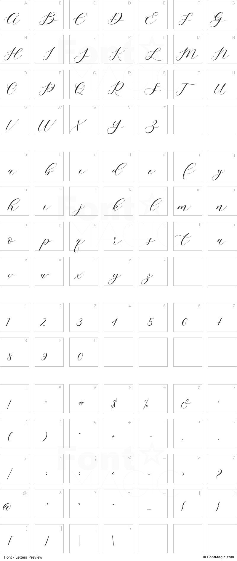 Sigtia Font - All Latters Preview Chart